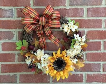 Fall Grapevine Wreath Hydrangeas Sunflowers Mums Acorns Bow Yellow White