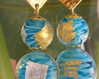 Turquoise gold and silver foil Murano glass - earrings-