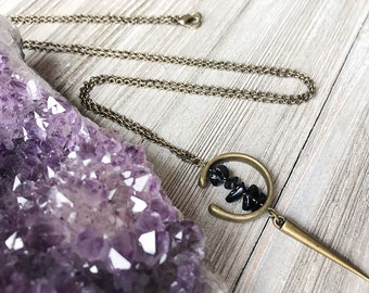 Black Obsidian Pendant Necklace // Natural Stone Necklace // Unique Long Necklace // Long Edgy Necklace // Black Stone Necklace // Modern