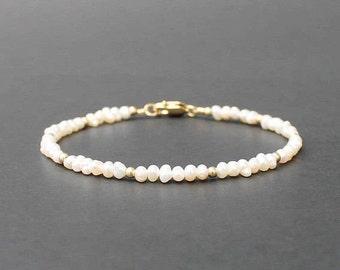 Pearl and 14k Gold or Sterling Silver Bracelet, Seed Pearl Bracelet, June Bracelet, Pearl Jewelry, June Birthstone Bracelet