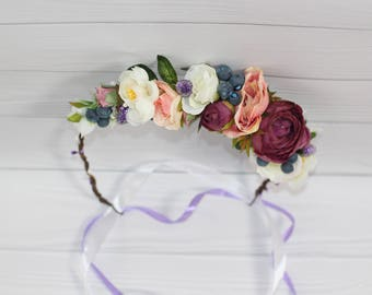 Flower crown fall wedding Flower hair wreath fairy autumn flower crown bridal flower halo fall
