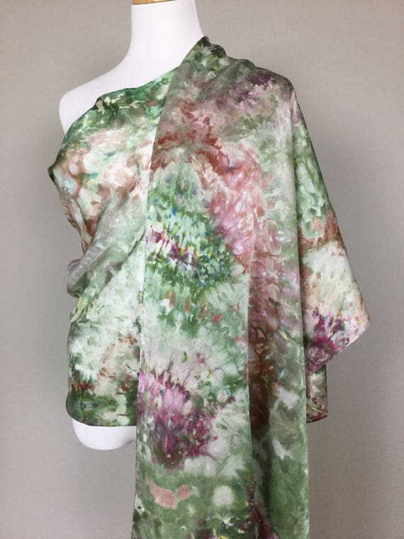 "NEW SIZE 100% Silk WRAP Ice Dyed in Beautiful Olive & Sage Greens Browns Earth Tones Artistic Watercolor 22""x90"" Elegant Rectangle Wrap #176"