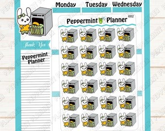 Jelly Bean cleaning the dishwasher --- Planner Stickers --- 682