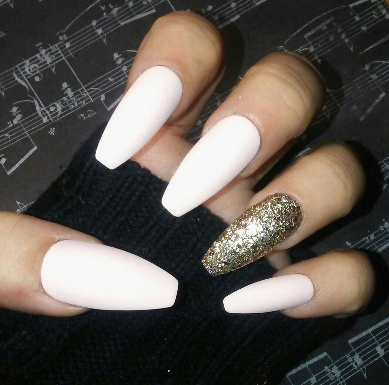 nude white cream coffin nails w gold glitter accent, matte, long