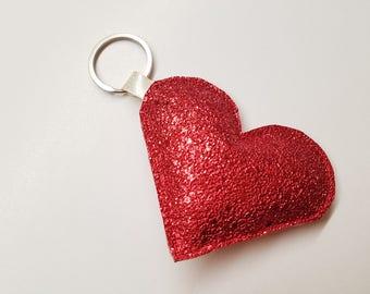 Valentines Day Gift - Vegan Leather Keychain - Leather Heart Keychain - Heart Key Fob - Heart Bag Charm - Girlfriend Girt - Sparkle Heart