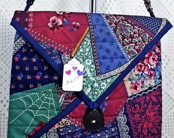 Quilted Purse, Quilted Bag, Square Purse, Square Handbag, Cotton Handbag, Homemade Purse, Homemade Quilted Purse, Crazy Patch Pattern Fabric