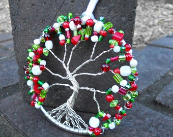 Beaded Tree Ornament with Red and Green glass beads, Wire Tree, Christmas ornament, sun catcher, glass bead ornament, Tree of Life, Holiday