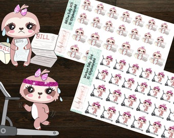 Sally the Sloth Doing Things (Workout, Bill Due) || Planner Stickers