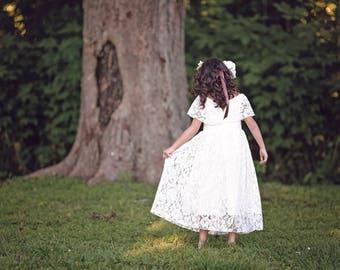 Rustic Flower Girl Dress, First Communion Dress, Boho Flower Girl Girls Lace Dress, Girls Maxi Dress, Vintage Lace Dress, White Lace Dress