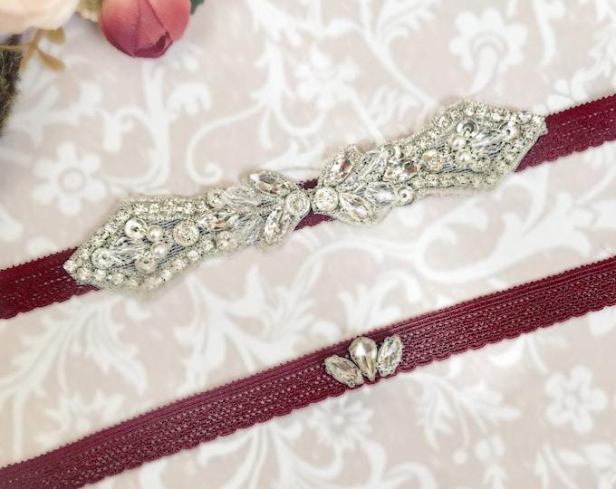 Burgundy wine Wedding Garter, burdundy  Wedding Garter Set, bridal garter set, vintage rhinestones, rhinestone ga