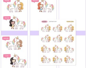 With a Unicorn - Planner Stickers Erin Condren Kikki K Filofax Happy Planner Travelers Notebook Midori SUE002