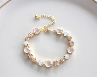 Crystal Bridal bracelet, Bridal jewelry, Swarovski bracelet, Gold bracelet, Wedding bracelet, Bridesmaid bracelet, White opal, Champagne