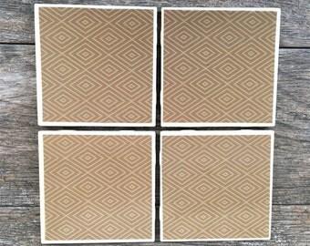 Tan Tribal Pattern Ceramic Coasters