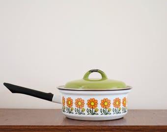 1970's Flower Power Enamel Saucepan - White Pan & Green Lid - Black Long Handle - Orange, Yellow And Green Flowers