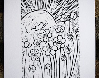 Tall Flowers - Black and White Linocut - Free Shipping
