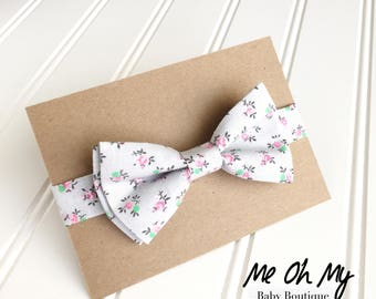 Floral gray Baby bow tie Toddler boys photo prop, toddler bow ties, boys first birthday outfit, kids bow tie, newborn bow tie