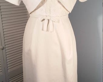 1960's Lovely and Rare Nat Kaplan 2-Piece Jacket and Wiggle Dress with Cutwork Size XS