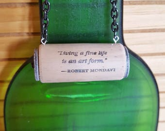 Wine Quote Ornament, Wine Cork Ornament, Wine Bottle Charm,
