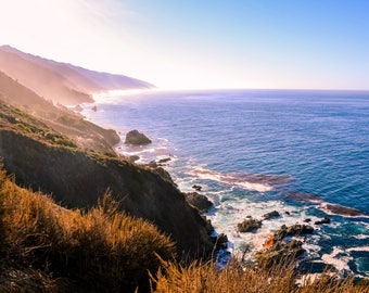 Big Sur, California Photo Print | wall art print, beach photography, travel photography, decor, blue, purple