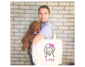 Personalized Doodle Canvas Jumbo Tote Bag with Bow