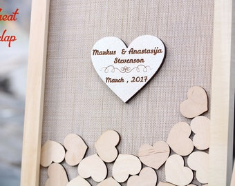 Personalized wedding gift Rustic wedding guest book alternative Wooden guest book ideas Heart guestbook frame Wedding drop box guest book