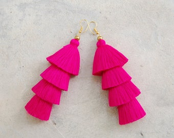 Handmade Fuchsia Pink Tassel Earrings
