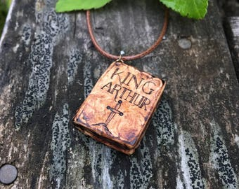"Wooden Book Pendant ""King Arthur"" - wooden pendant for book lovers with pyrography - wooden necklace, mini book necklace, wooden pendant"