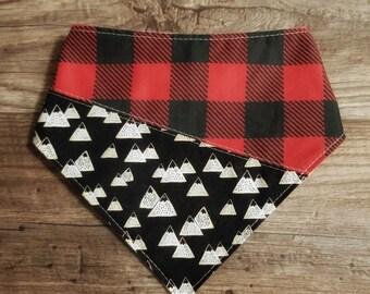 Bandana Bib | Mountains | Modern | Bibdana | Teething | Baby | Drool Bib | Kenton Creations | Buffalo Plaid | Handmade in Canada