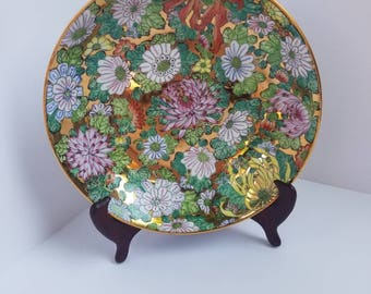 Vintage Hand-painted Chinese Gold Gilted Mille Fleurs Porcelain Plate Qianlong Period Make // Qianlong Nian Zhi Mille Fleurs Charger //