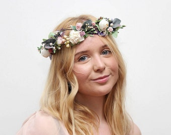 Bridal Floral Crown / Lavender Wedding  Headpiece Bridal Hair Piece Wedding Flower Crown Bride READY