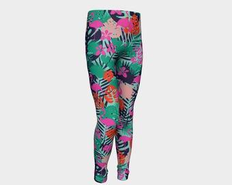 Flamingo Kids Leggings, Flamingo Leggings, Flamingo Clothes, Tropical Kids Leggings, Kids Flamingo Leggings, Tropical Kids Clothes