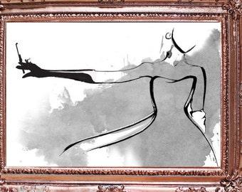 Georgiana print, Couture, Fashion Illustration, Watercolour Art, Black and White Print , Fashion Print, Wall art