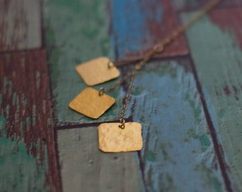 Necklace  Handmade jewelry 24K gold plated Squares