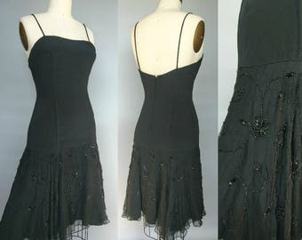 lively / 1960s black drop waist sequin skirt cocktail dress by bernetti / 2 4 xs