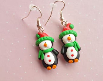Christmas Earrings - Christmas Gift Ideas - Penguin Earrings - Christmas Dangle Earrings - Xmas Earrings - Christmas Jewelry Gift