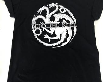 Game of Thrones Bend The Knee Tee Targaryn Gothic Mother of Dragons GOTHIC Font