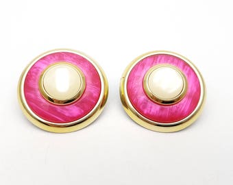 "Vintage Pierced Earrings 80s 2"" Round Detailed Fuchsia Gold Tone Plastic Cabochon Stud Geometric Mod Retro Classic Feminine Statement"