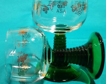 Luminarc Roemer Style Wine Glasses/Green Beehive Stem Gold Grape Vine Wine Glasses/Wine Tasting Gobletes/Wine Cordials/Set of 2