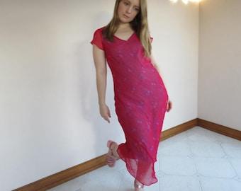 Hot Pink Floral Dress / Chiffon Floaty 90s Dress / Short Sleeve Crinkle Fabric Midi V Neck Sheer Size 12 Large