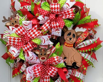 Christmas Wreath, Santa's Deer Wreath, Front Door Xmas Wreath. Xmas Porch Wreath, Christmas Decoration, Best Door, Wall Decor, Deer Decor