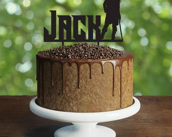 Pirate Cake Topper, Customizable birthday cake topper, party decorations, Cake topper with personalized name, pirate