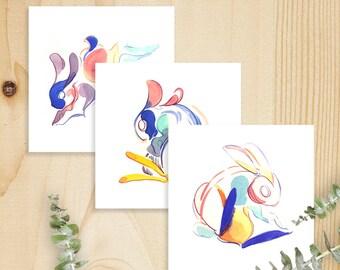 Dancing Rabbits Print Set