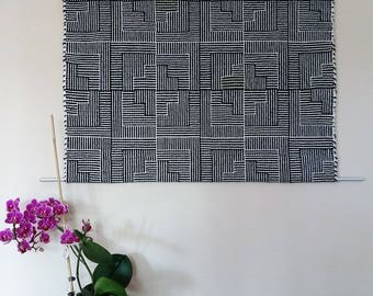 handwoven wall hanging pure wool, black-white with a blur of green, shadow weave, stylish tapestry handwoven, noise insulation, AtKathleens