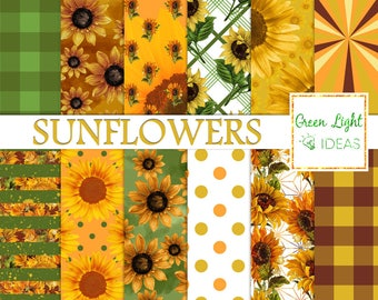 Sunflowers Digital Papers, Vintage Flowers Scrapbook Papers, Spring Backgrounds, Sunflower Backgrounds, Vintage Sunflower Junk Journal Paper