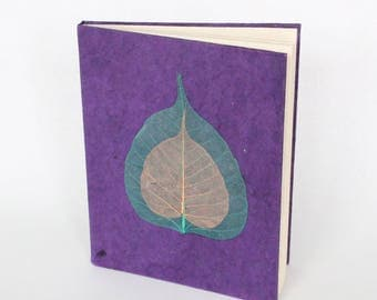 Eco-Friendly Handmade Lokta Bark Paper Journal | Purple Leaves Natural Notebook | Unique Sustainable Hard Cover Diary Nepal | Fair Trade