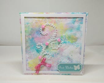 Female Birthday Card - Watercolour Flower - luxury personalised unique quality special bespoke UK - Mum/Daughter/Aunt/Sister/Niece/Wife
