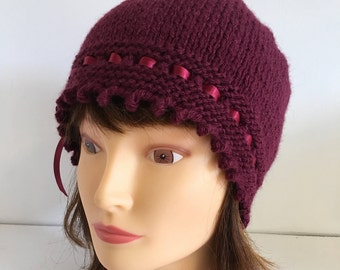 Burgundy Knit Hat, Knitted Valentine Gift, 1920s Red Beanie, Feminine Laced Ribbon Hat, Ladies Gift, Stylish Winter Hats For Women, Wool Hat