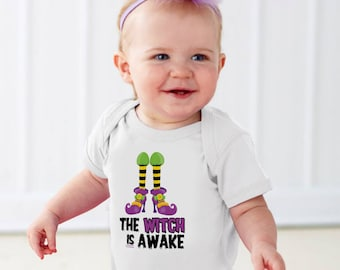 The Witch is Awake - Funny Baby Halloween Onesie - Witch Onesie - Halloween Onesie - 1st Halloween