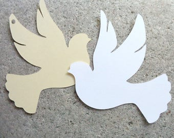 Dove Shaped Wedding Favor Tags Blank Cardstock Lovebird Gift Tags Paper Die Cut Doves Choose Color & Style