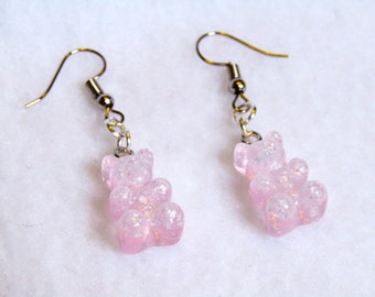 cute pastel pink sparkly gummy candy bear resin earrings
